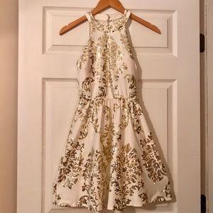 Cream and Gold Semi-Formal Dress